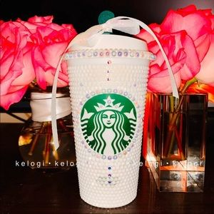 🤍NEW🤍Starbucks White Pearl Iridescent Bling Cup